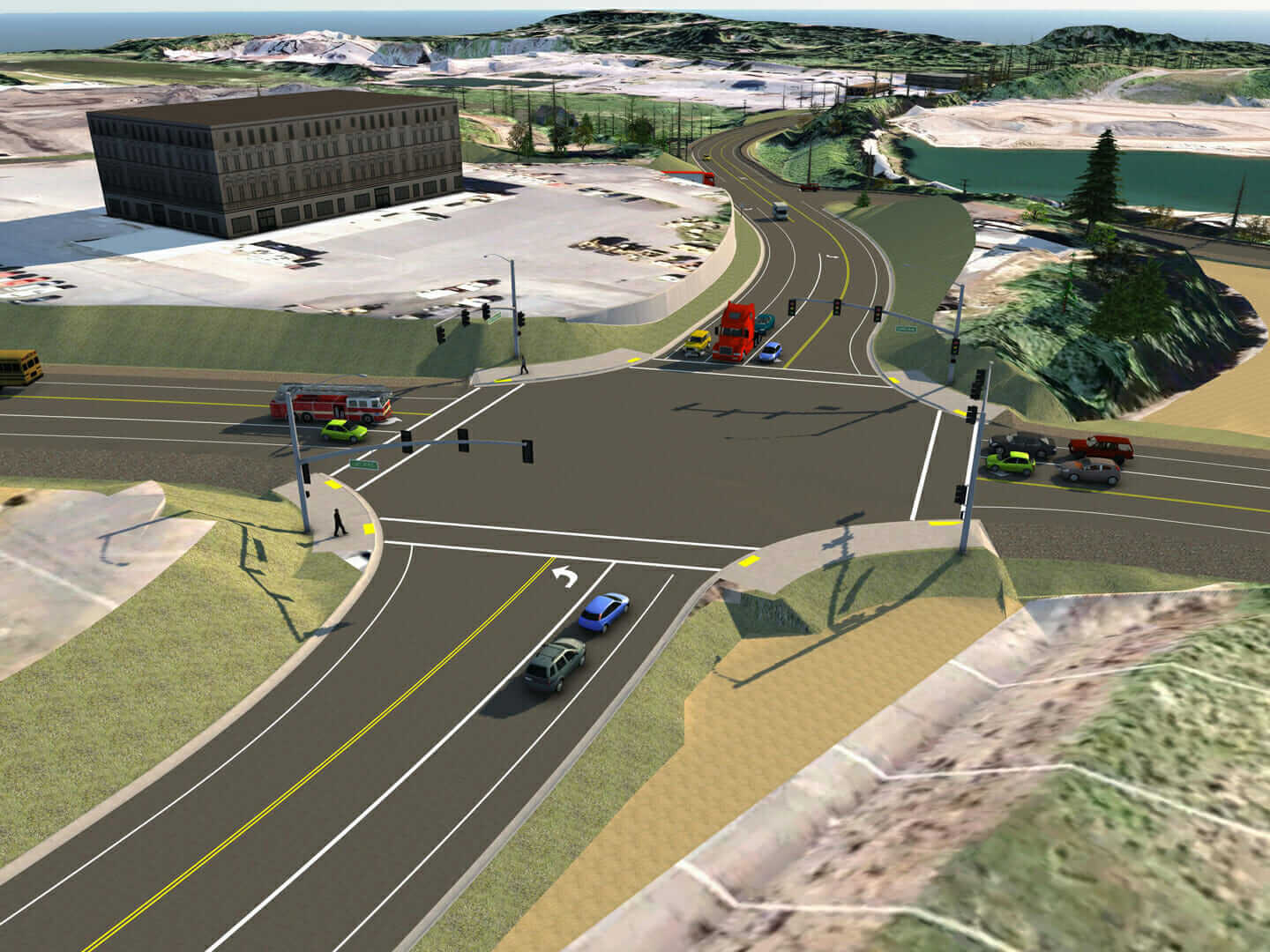 InfraWorks model of the 124th avenue intersection in Oregon