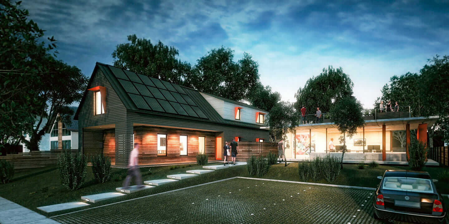 good netzero house #8: Rendering of the Axiom House. Courtesy Acre Designs.