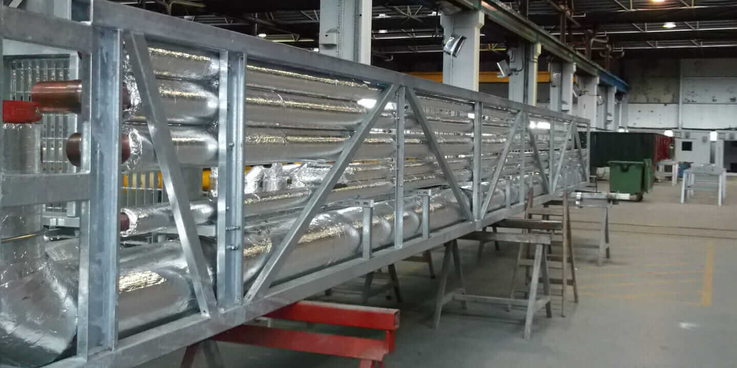 Prefabricated construction components in production at an offsite facility