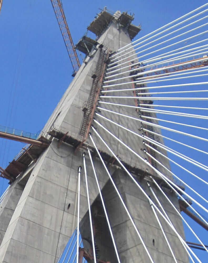 head of pylons cables bouregreg river bridge