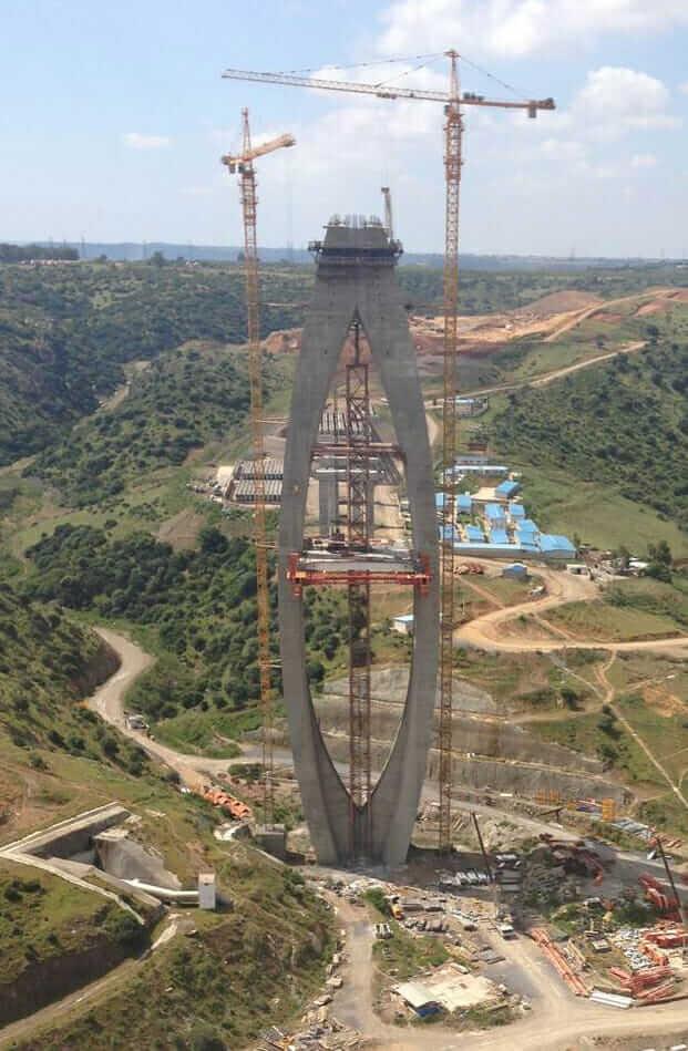 construction of bouregreg river pylons