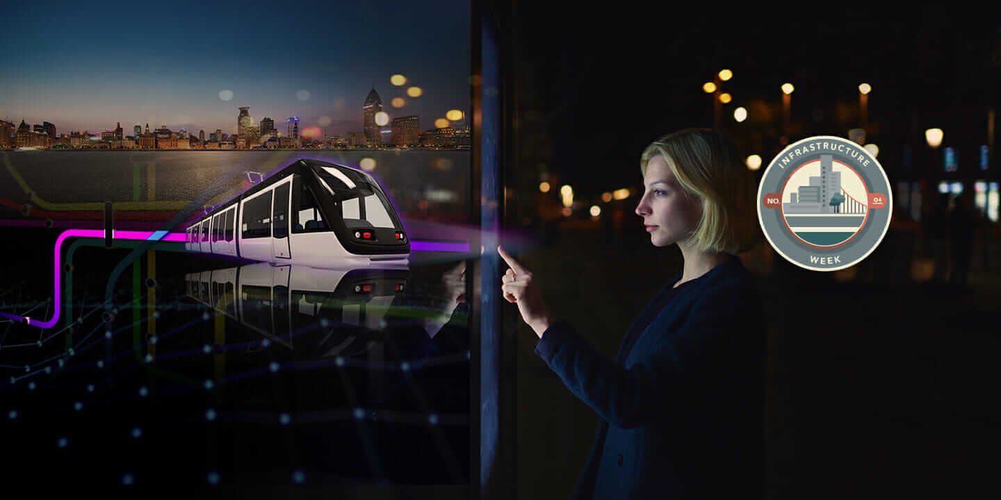 smart cities image composite train and woman