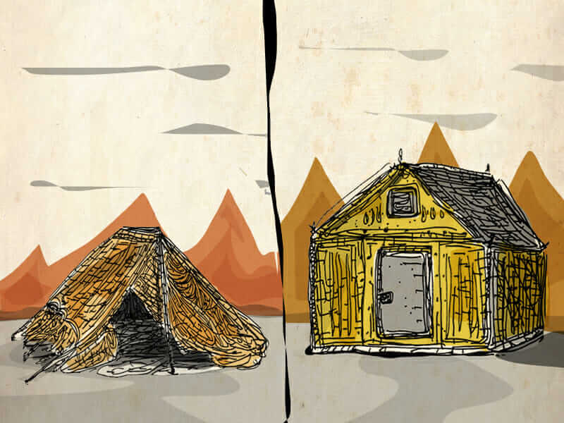 sustainable housing tent and house