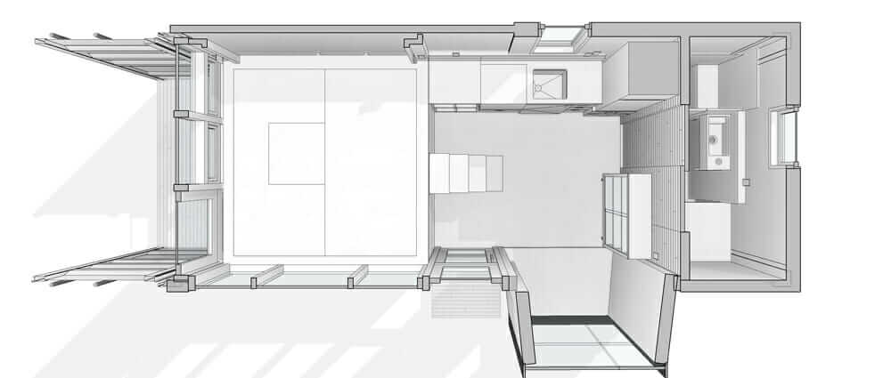 Shipping-container home Bento Box project drawing Sean Burke Unboxed House