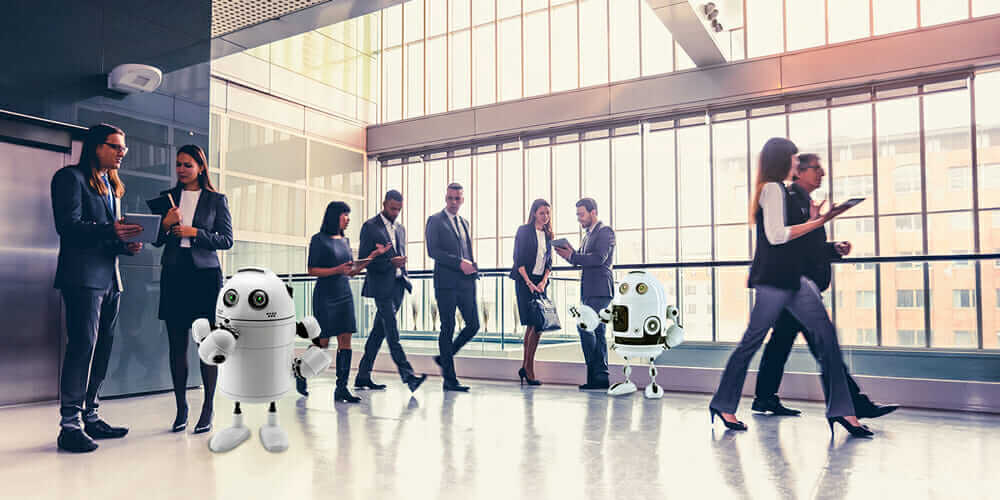 intelligence augmentation robots in lobby with people