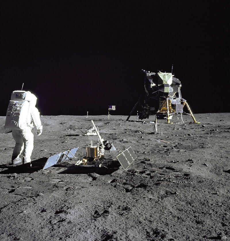 Buzz Aldrin and Tranquility Base on the moon