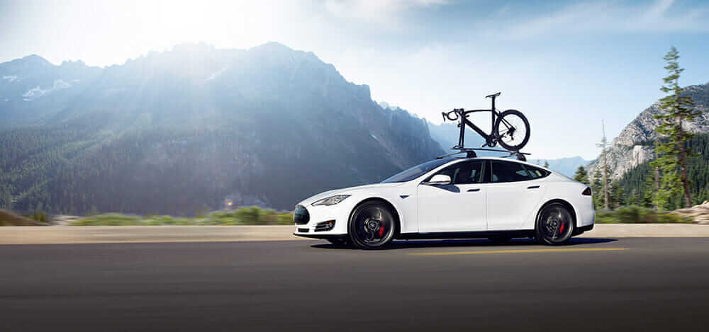 Tesla Model S with bike