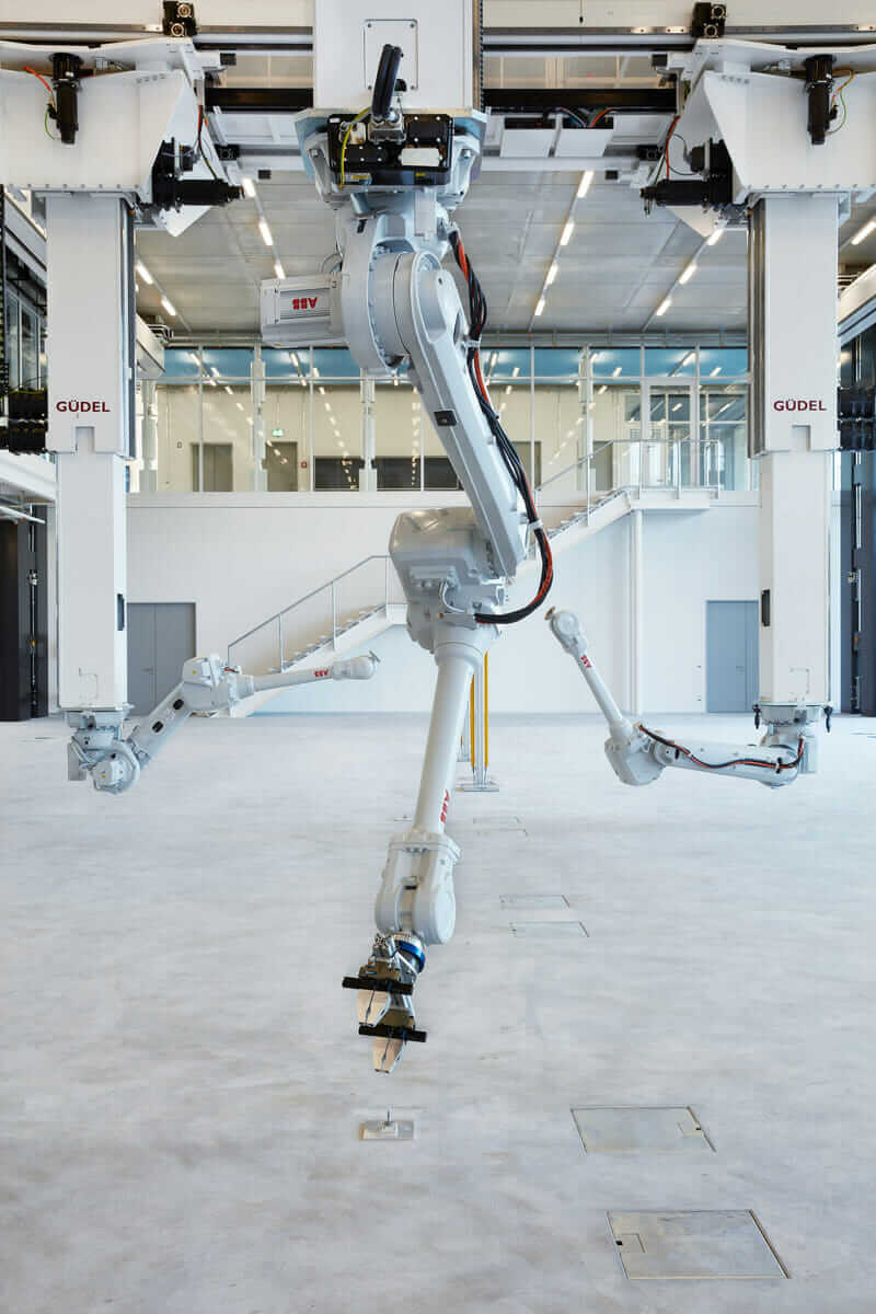 robotic fabrication in architecture gantry system with industrial robots