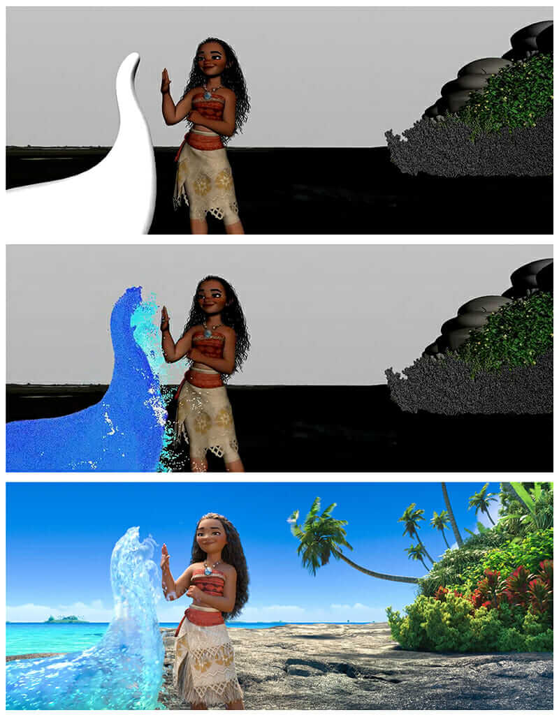 moana animation subsequent renders of moana high-fiving the ocean