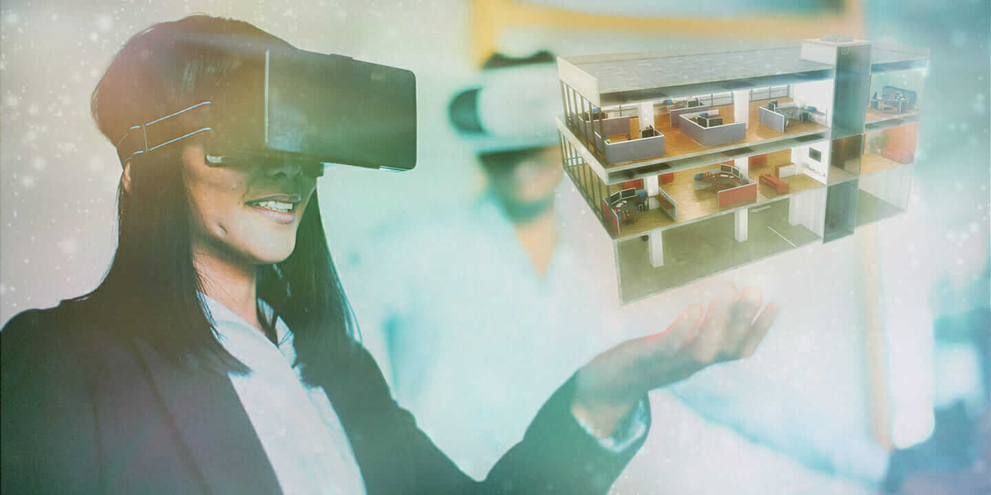 virtual reality in architecture woman using headset