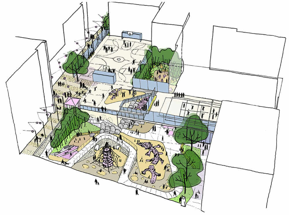 life of a landscape architect bird's eye sketch Willie Woo Woo Wong Playground