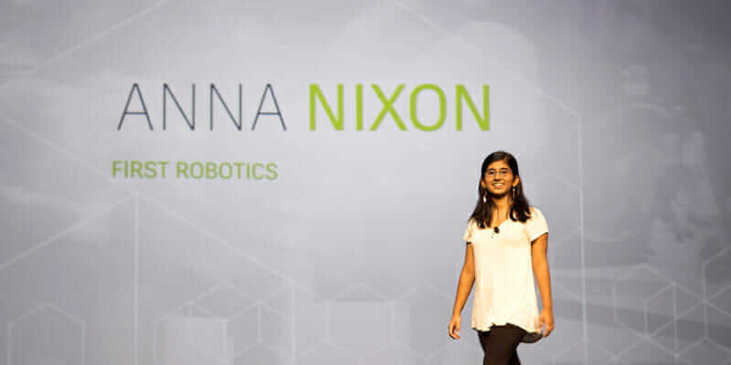 Anna Nixon onstage at Autodesk University