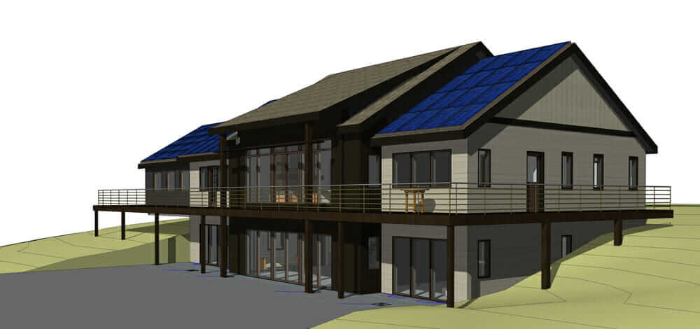 3D model of solar architecture incorporated into the Fox House in Pavilion, Wyoming