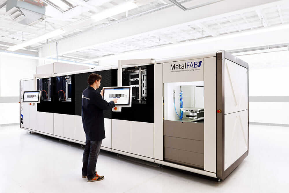 Additive Industries' MetalFAB1 industrial 3D metal-printing system, part of a growing trend of additive manufacturing systems being used in production lines.