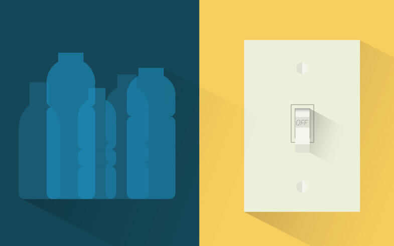 Plastic bottle and light switch representing energy & recycling as examples of CSR