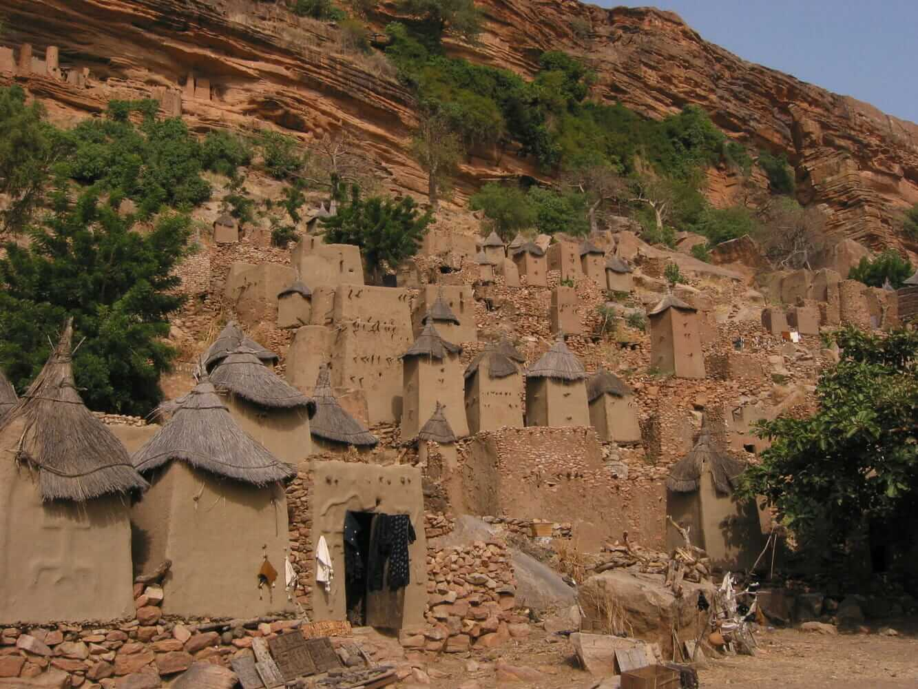 Dogon structures on the cliff of Bandiagara, Mali.