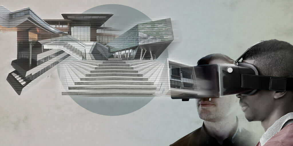 VR headset users surveying architectural designs