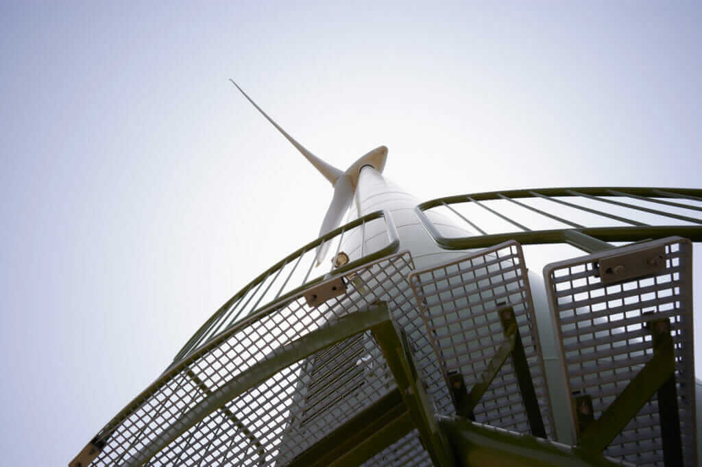 A wind turbine as viewed from below