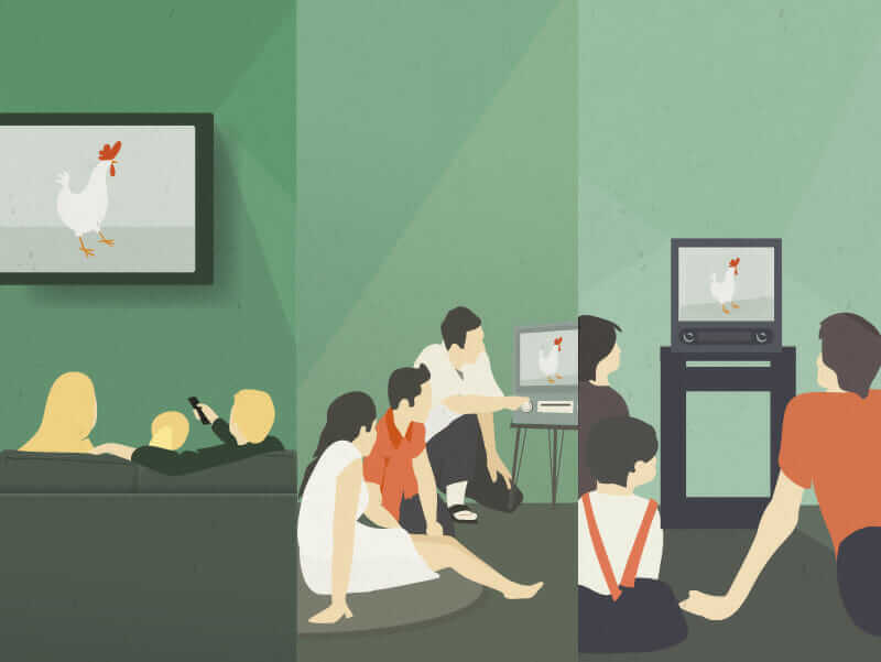 software competency illustration of people watching chicken movie