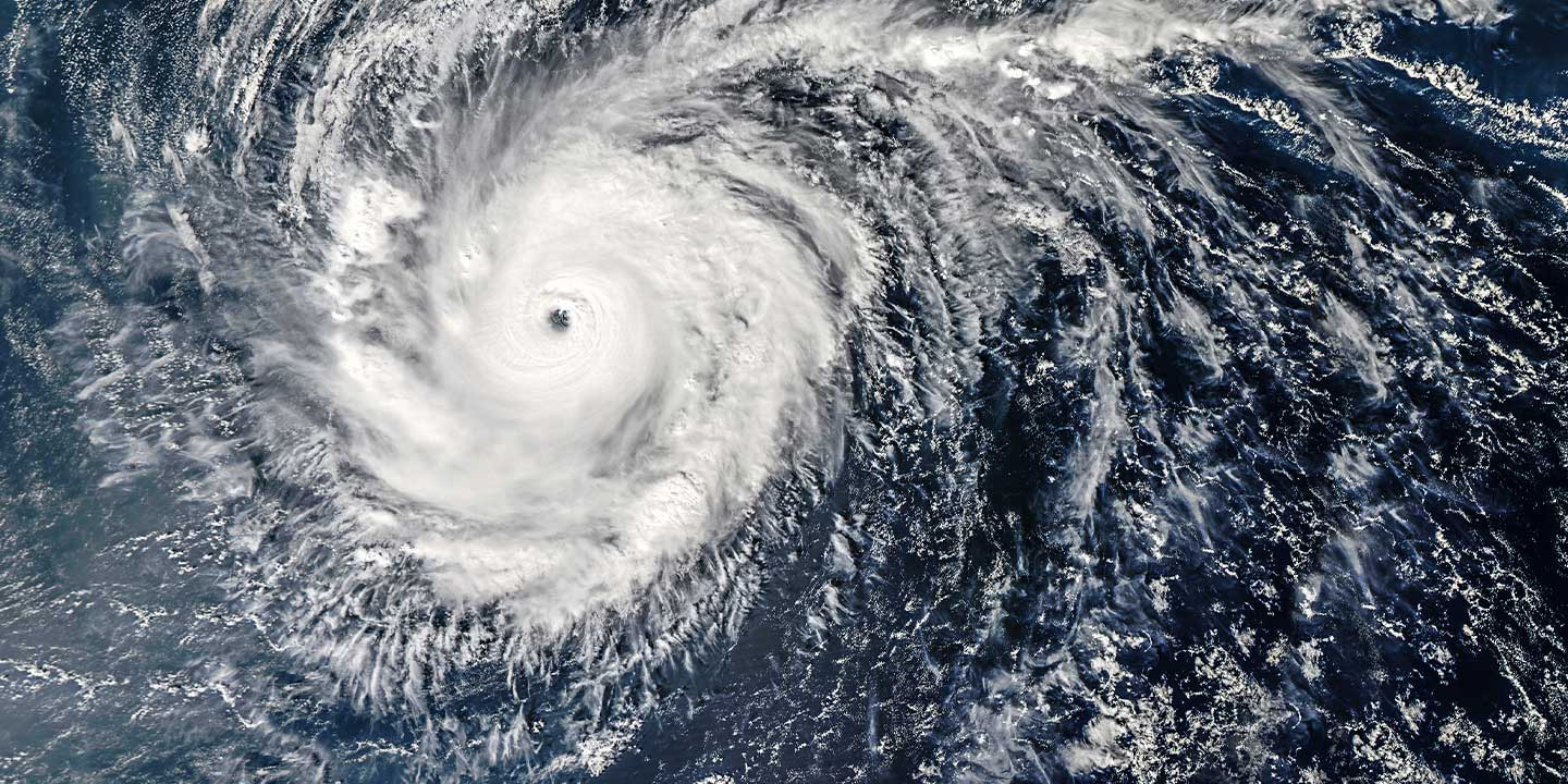 Aerial view of a typhoon over the ocean