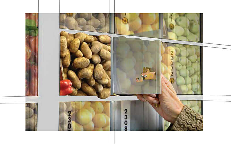Image composite of what the First Class Meal PO box food-storage system might look like.