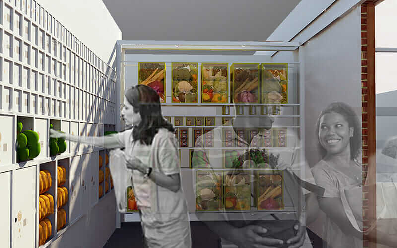 First Class Meal design proposal, including a new food wall combined with existing PO boxes..