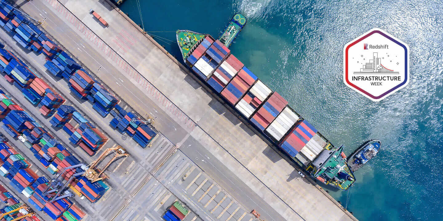 Overhead view of shipping port