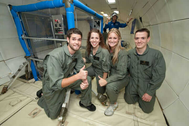 Dailey and other engineers onboard NASA's parabolic, microgravity aircraft in Houston, Texas.