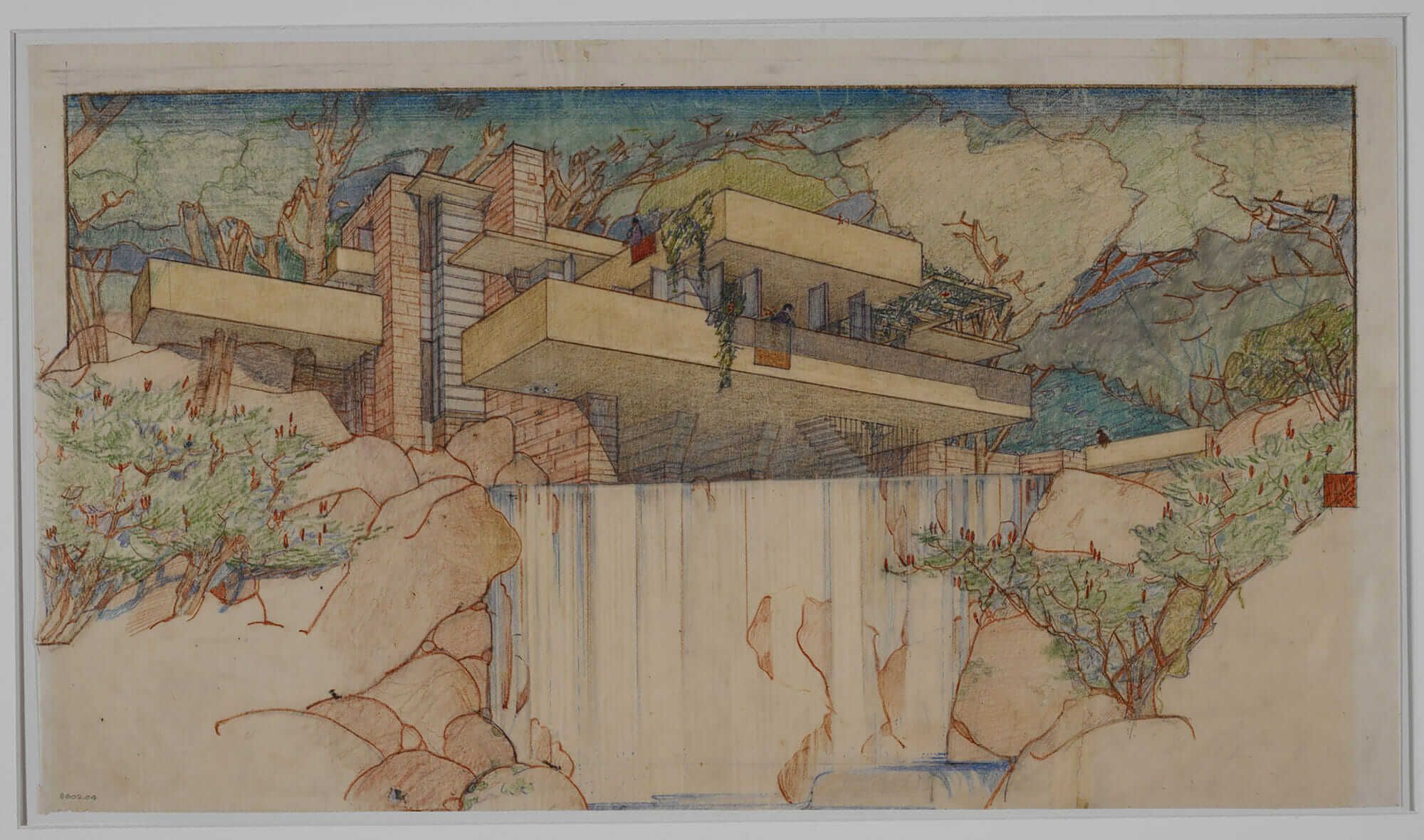frank lloyd wright designs Fallingwater drawing