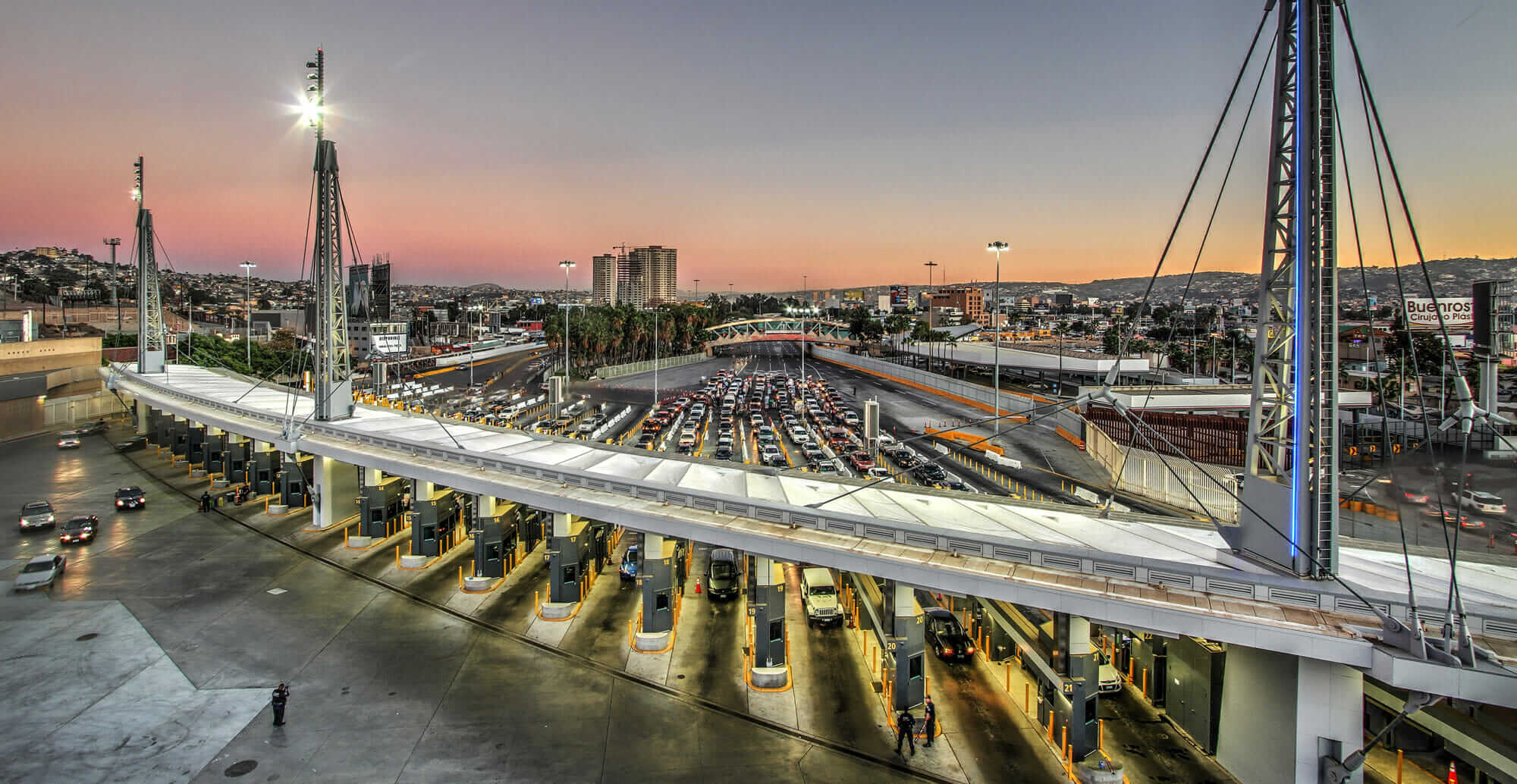 A view of the San Ysidro border crossing from the main building.