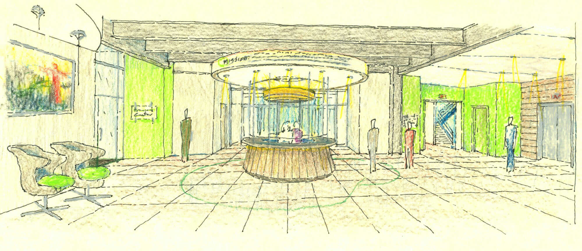 Lobby sketch of the Health Plan building in Wheeling, West Virginia.