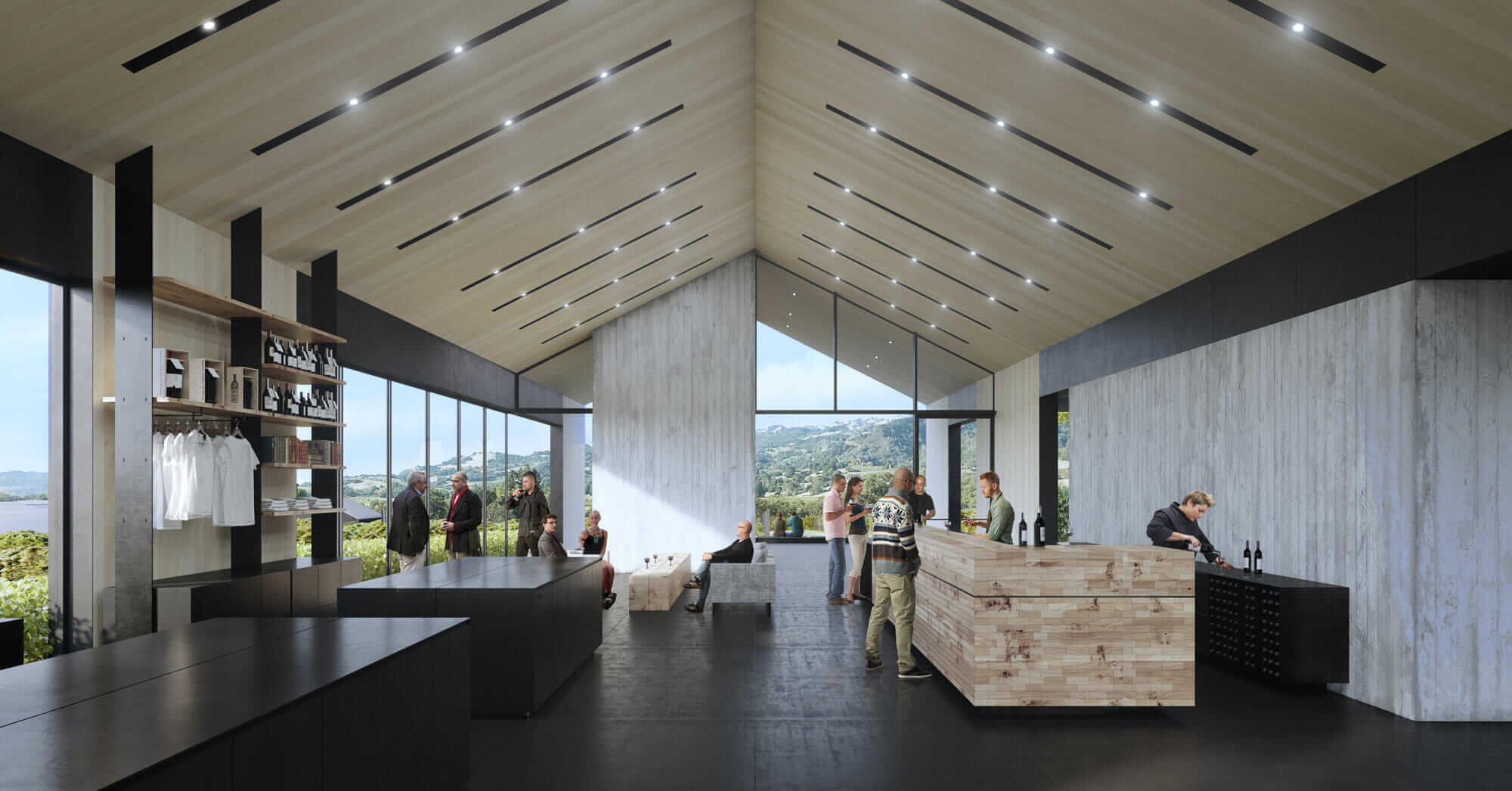 A rendering of the tasting room in Silver Oak's new winery.