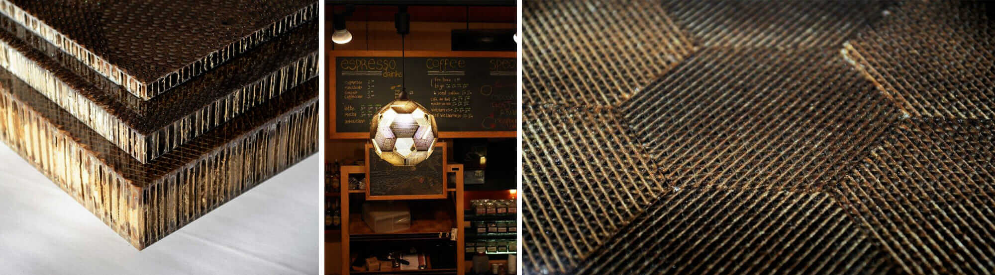 MetaComb uses a patented process to upcycle corrugated cardboard into decorative and structural panels.