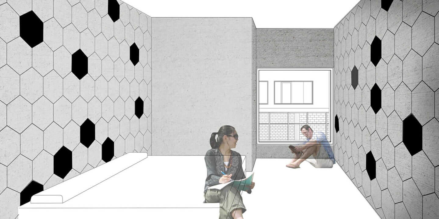 A rendering of an affordable upcycled interior wall insulation system designed by Washington State professors Taiji Miyasaka and Robert Richards.