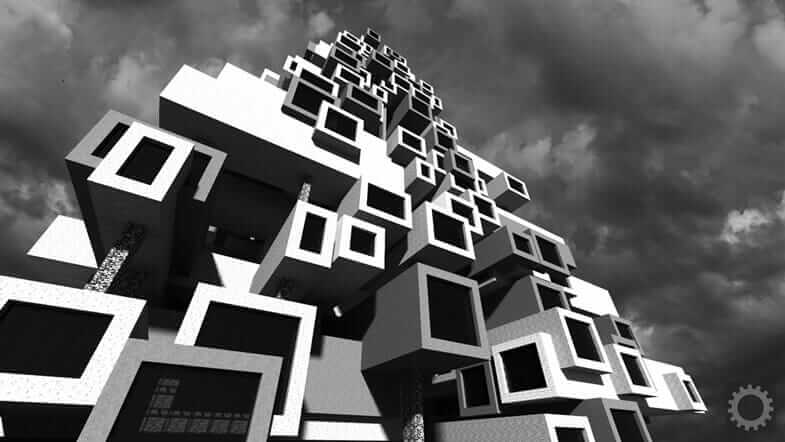 brutalist architecture in Minecraft video game