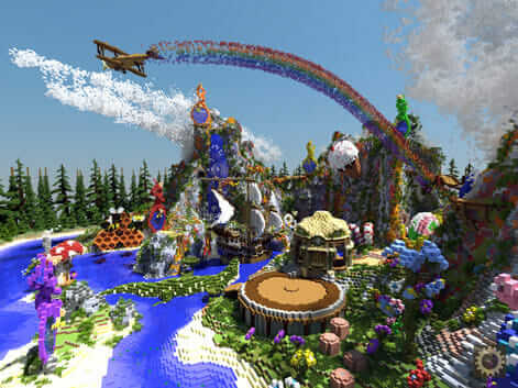 Neverland-inspired Minecraft architectue