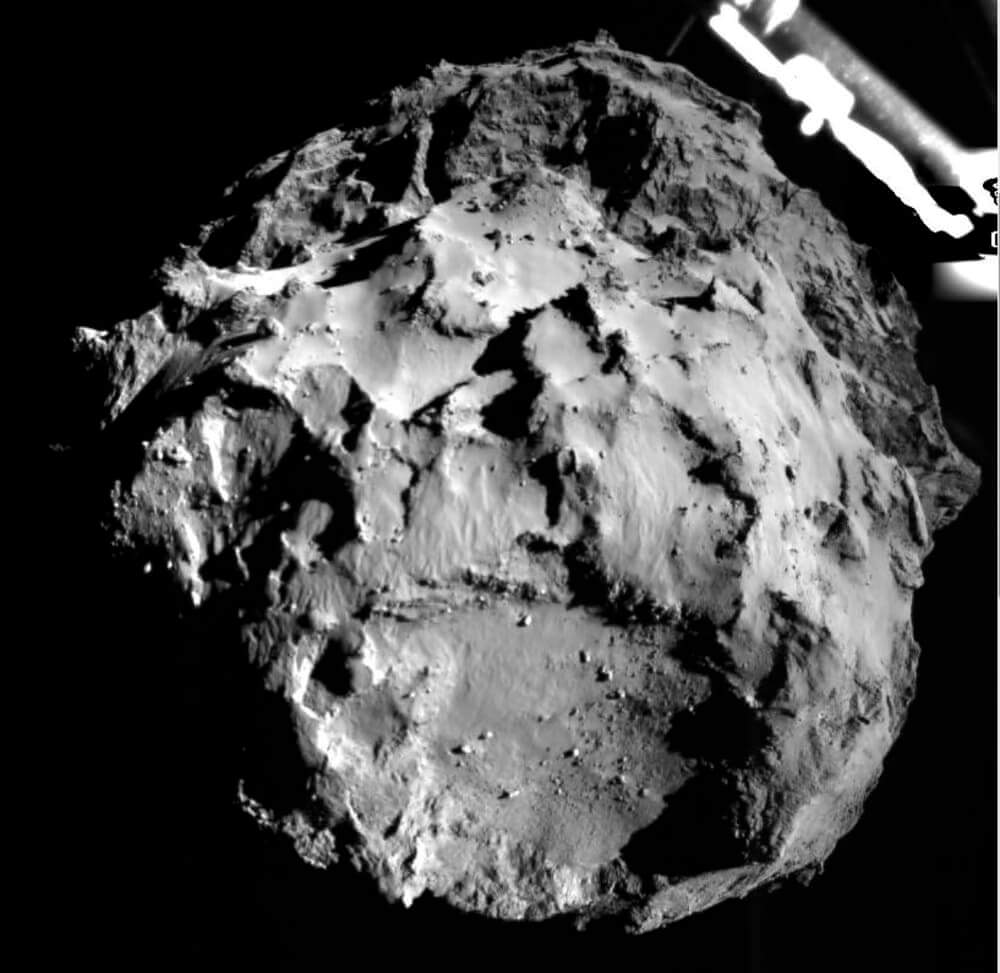 The view from the Rosetta Lander as it prepares to touch down on comet 67P/Churyumov-Gerasimenko.
