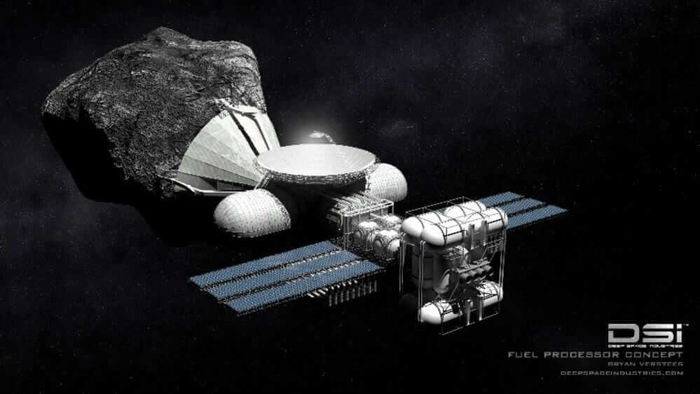 An artist's rendering of what asteroid mining might look like.