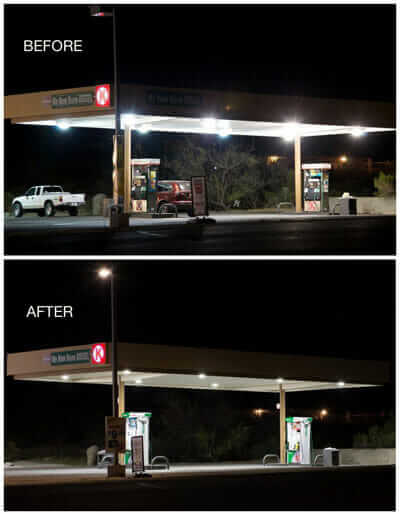 A Circle K gas station designed with warm LEDs with low glare to reduce light pollution.