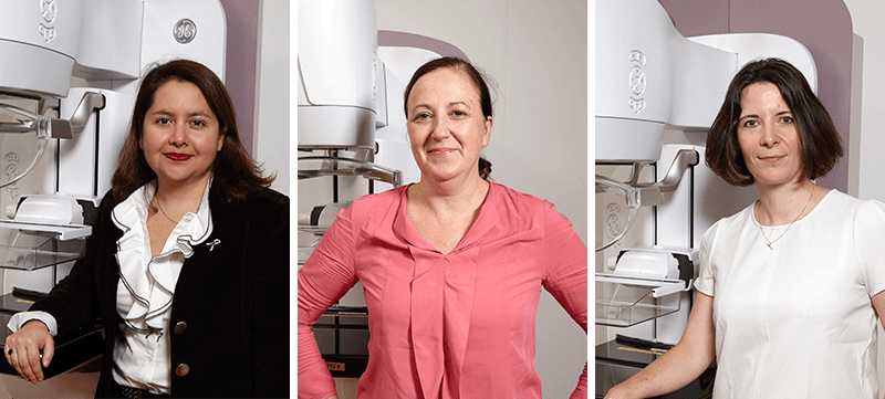 Laura Hernandez, Claire Goodliffe, and Aurelie Boudier, developers of GE's Pristina mammography machine.