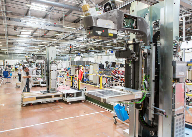 The manufacturing floor at GE Healthcare in Buc, France, where the Pristina mammography scanner was produced.