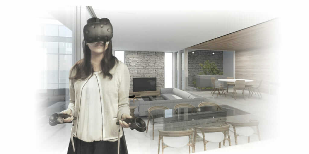Woman taking virtual tour of future home using VR technology