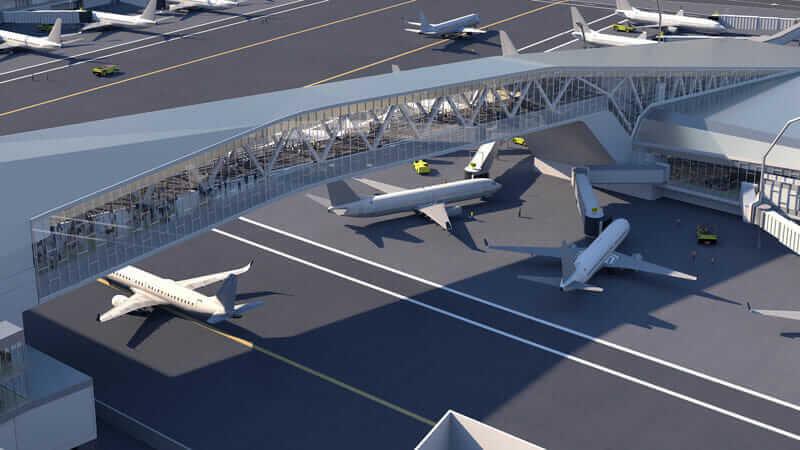 Rendering of design for future airport terminal bridge at LaGuardia