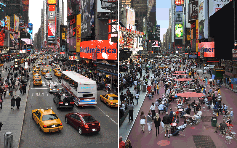 design for social justice Reclaimed pedestrian space in Times Square