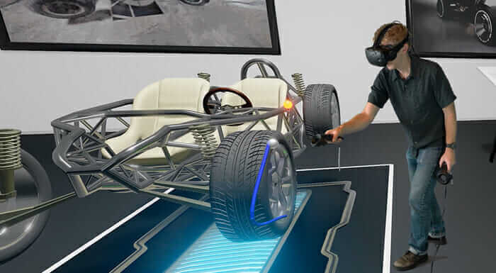 create virtual reality man using VR headset with car