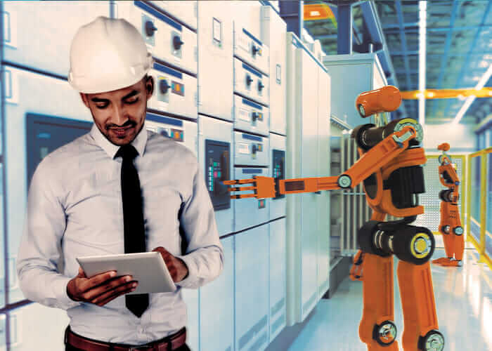View of the future of work automation, showing a human worker alongside collaborative robots in the background