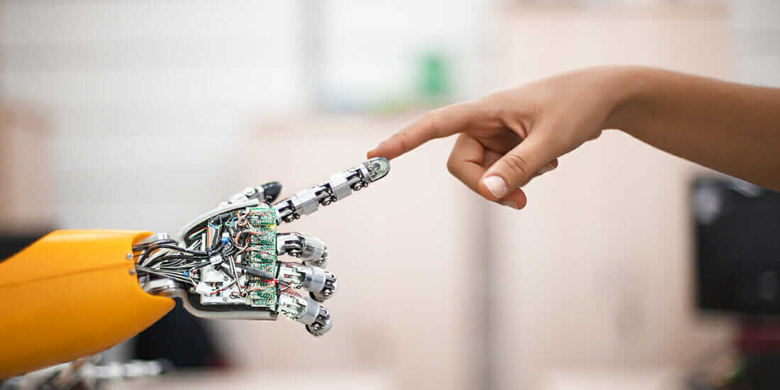 Future robot's finger touching human finger