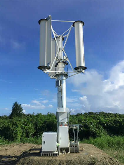 A 1-kilowatt field-test turbine installed in Nanjo City, Okinawa.