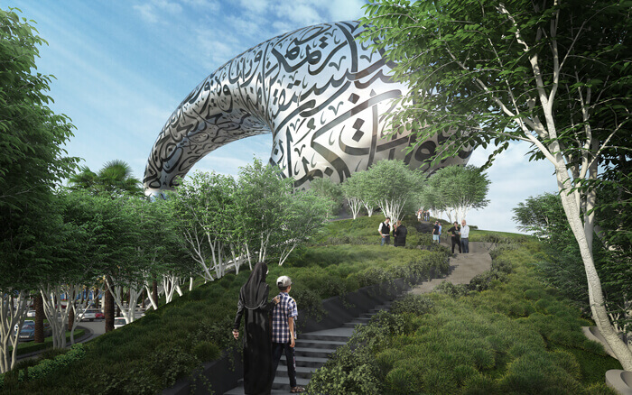 Rendering of walkway approaching Dubai's Museum of the Future