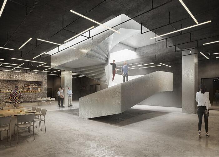 VR architecture fotografiska stairwell
